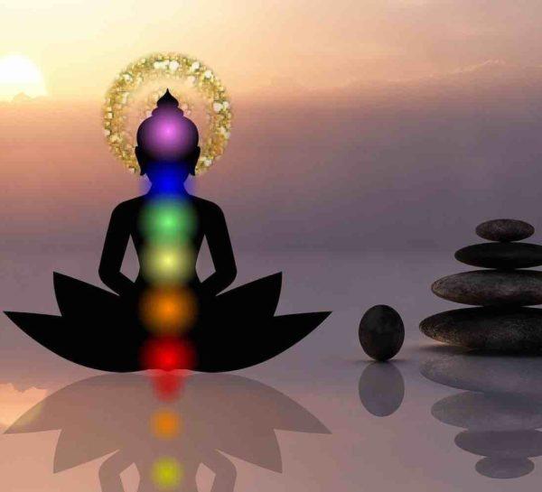 Silhouette de pratiquant avec les 7 chakras